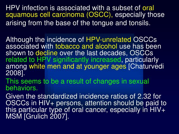HPV infection is associated with a subset of