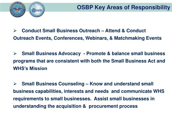 OSBP Key Areas of Responsibility