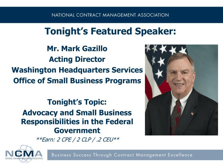 Tonight's Featured Speaker: