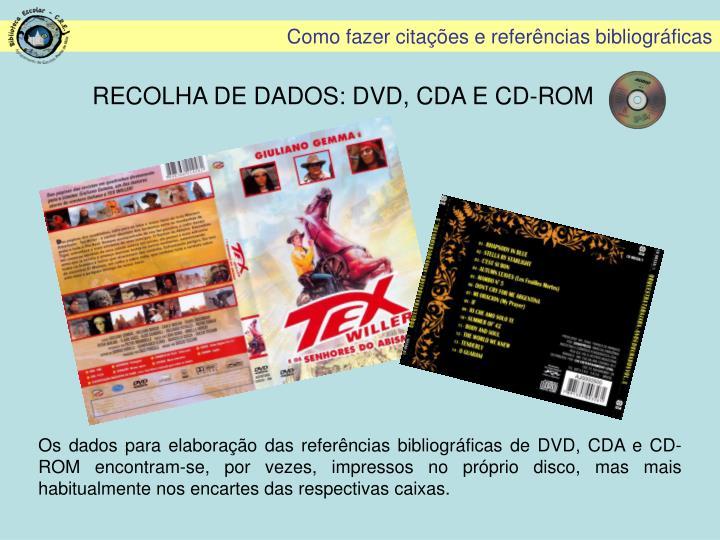 RECOLHA DE DADOS: DVD, CDA E CD-ROM