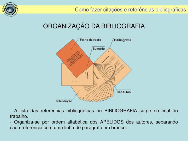 ORGANIZAÇÃO DA BIBLIOGRAFIA