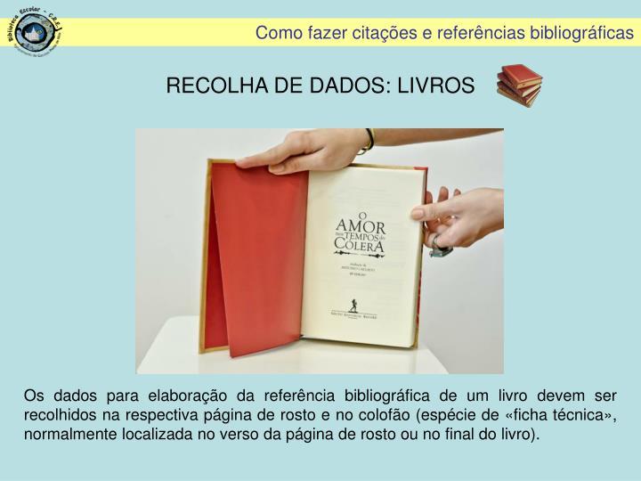 RECOLHA DE DADOS: LIVROS
