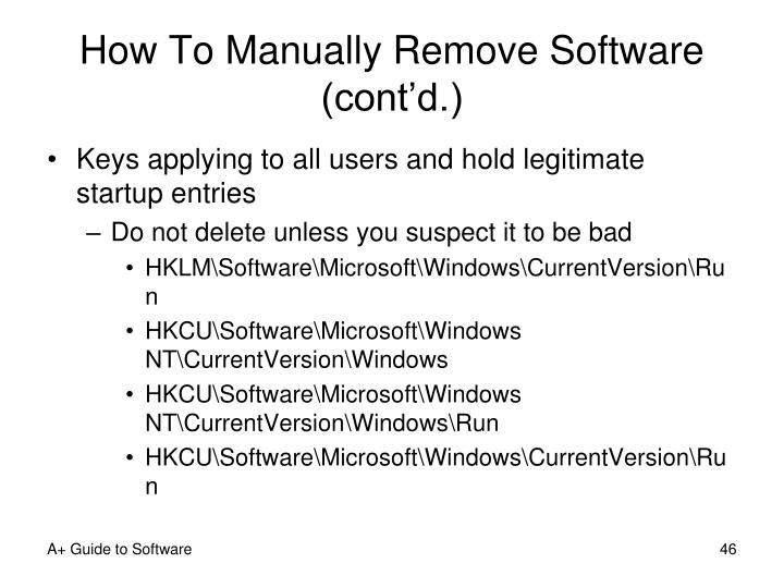 How To Manually Remove Software (cont'd.)