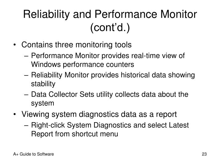Reliability and Performance Monitor (cont'd.)