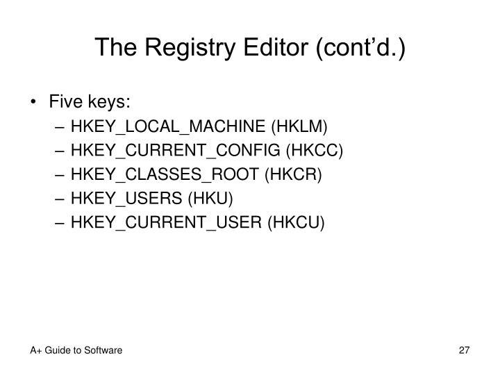 The Registry Editor (cont'd.)