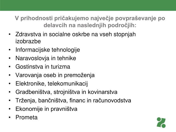 V prihodnosti pričakujemo največje povpraševanje po delavcih na naslednjih področjih: