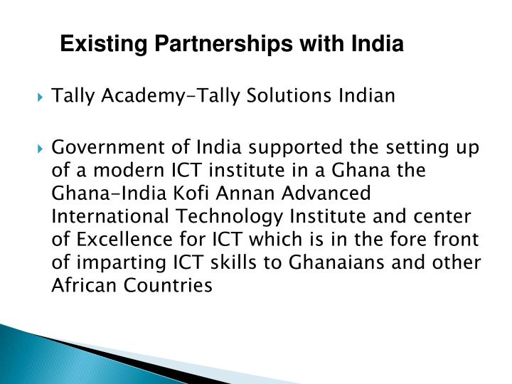 Existing Partnerships with India