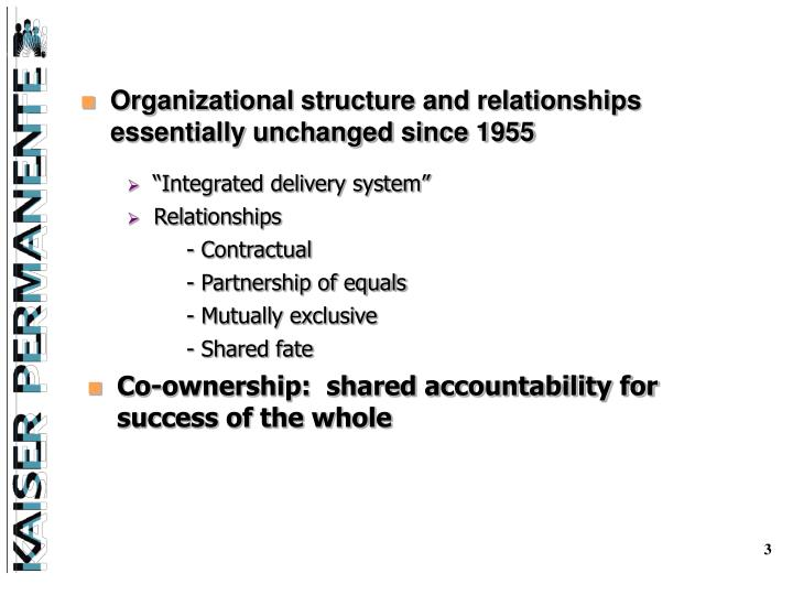 Organizational structure and relationships        essentially unchanged since 1955