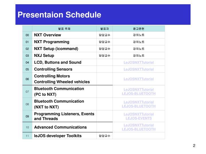 Presentaion Schedule