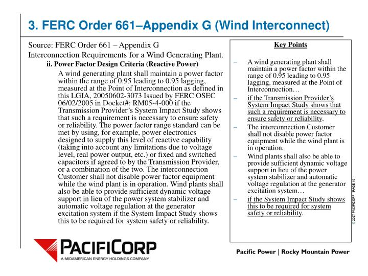 Source: FERC Order 661 – Appendix G