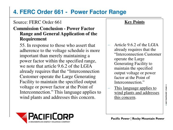 Source: FERC Order 661
