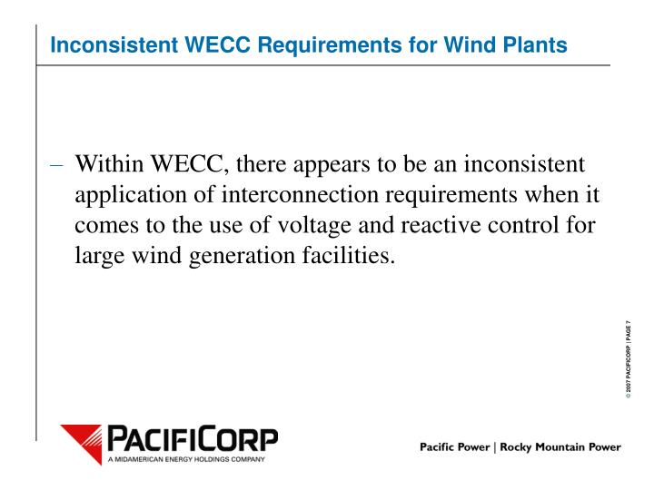 Inconsistent WECC Requirements for Wind Plants