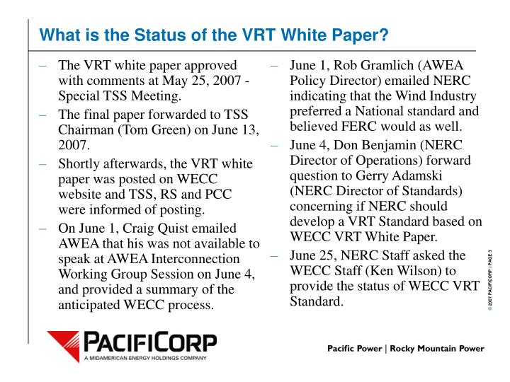 What is the status of the vrt white paper