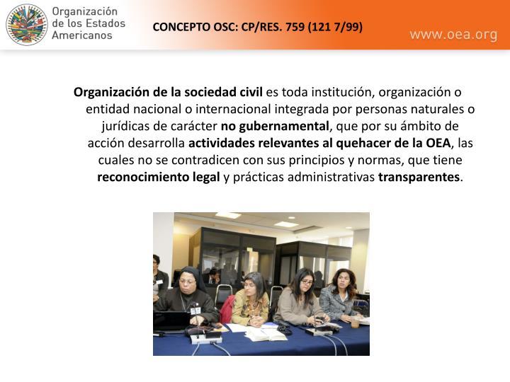 CONCEPTO OSC: CP/RES. 759 (121 7/99)