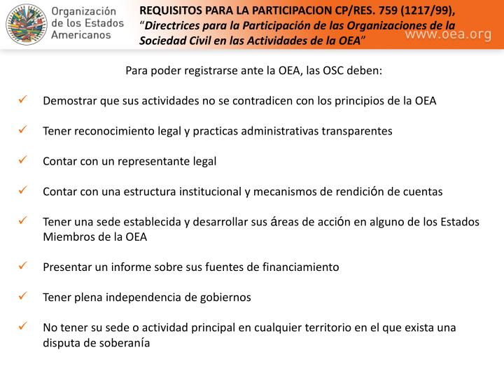 REQUISITOS PARA LA PARTICIPACION