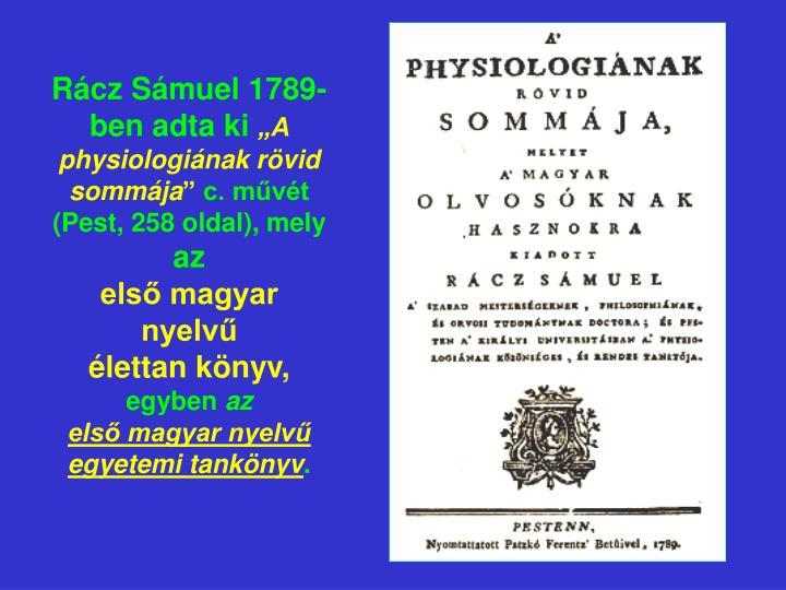Rácz Sámuel 1789-ben adta ki