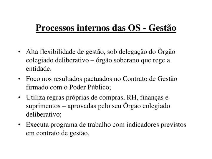 Processos internos das OS - Gestão