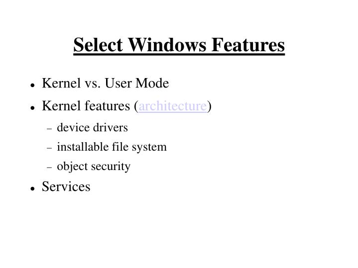 Select Windows Features