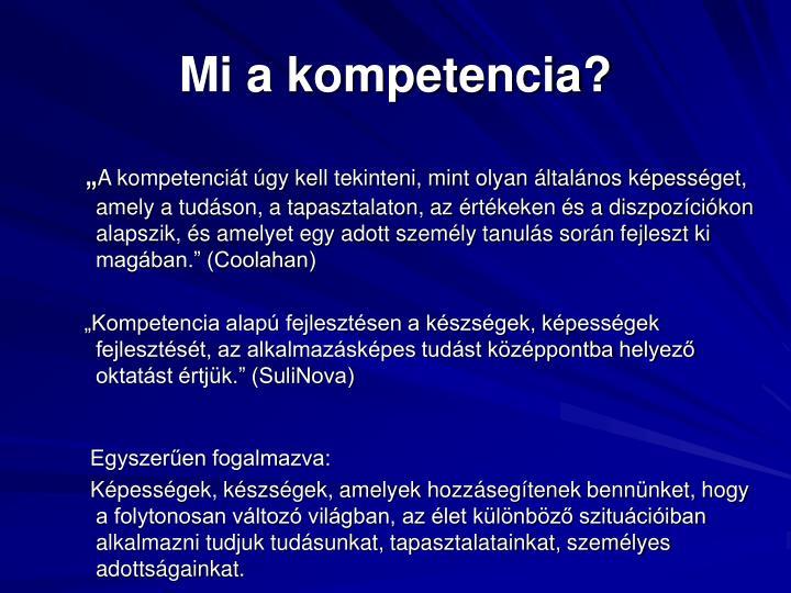 Mi a kompetencia?