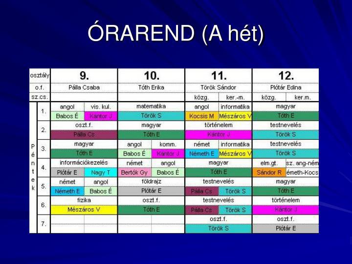 ÓRAREND (A hét)