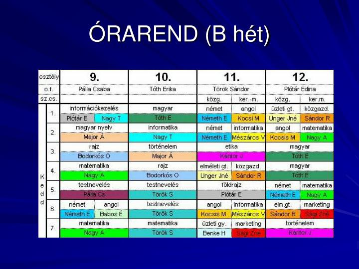 ÓRAREND (B hét)