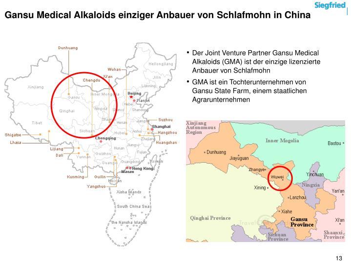 Gansu Medical Alkaloids einziger Anbauer von Schlafmohn in China