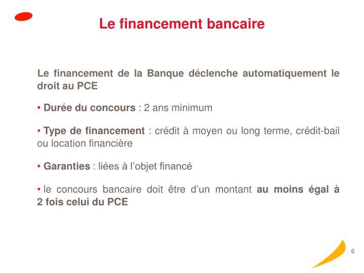 Le financement bancaire