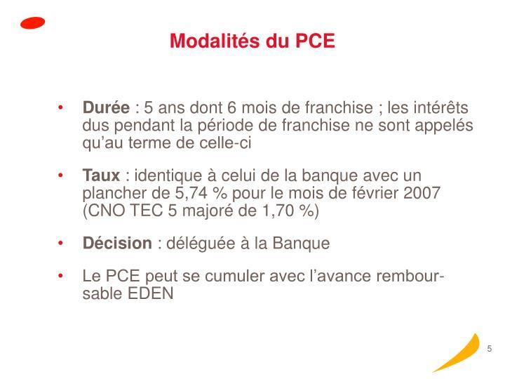 Modalités du PCE