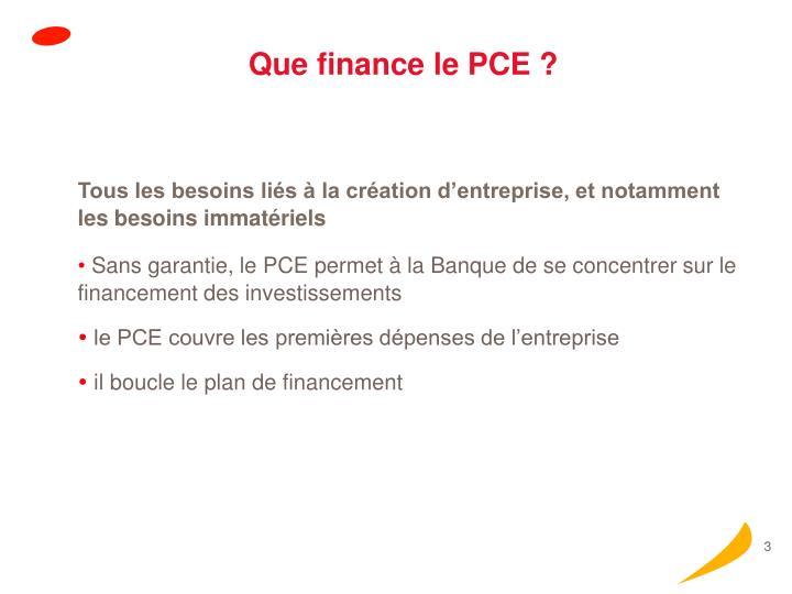 Que finance le PCE ?