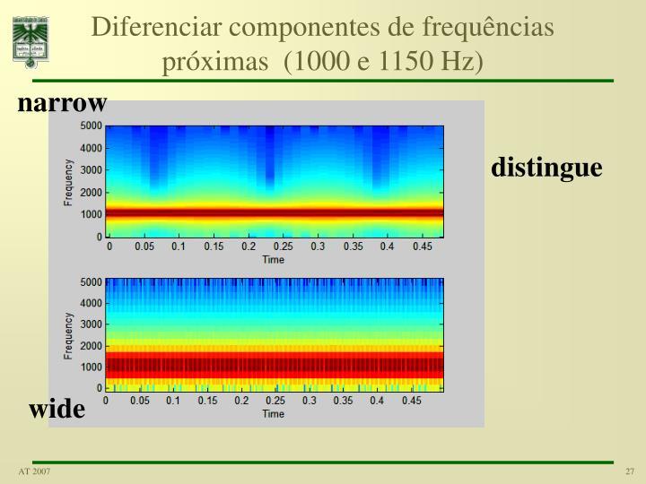 Diferenciar componentes de frequências próximas  (1000 e 1150 Hz)