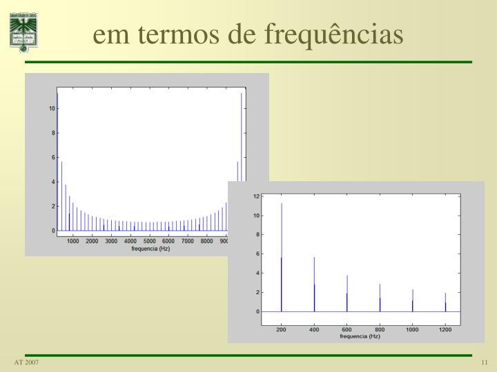em termos de frequências