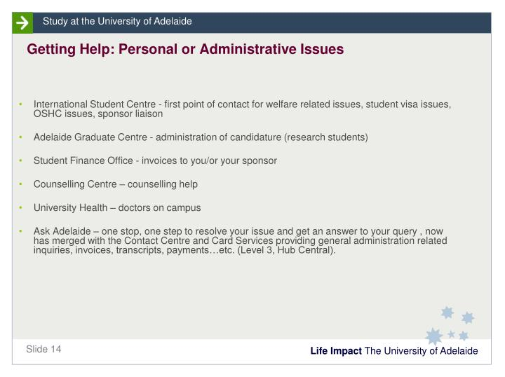 Getting Help: Personal or Administrative Issues