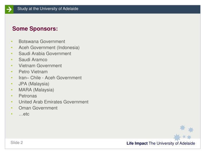 Some Sponsors: