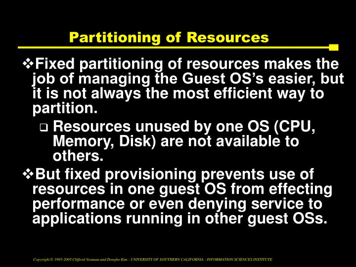 Partitioning of Resources