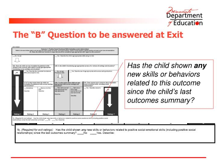 "The ""B"" Question to be answered at Exit"