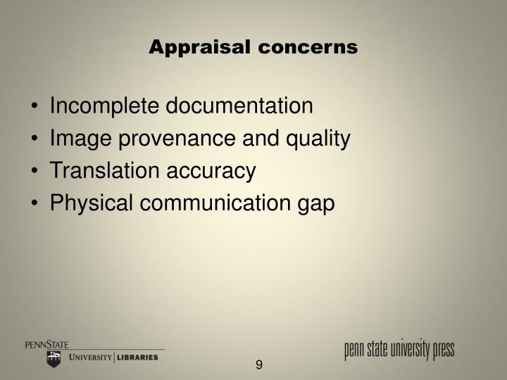 Appraisal concerns