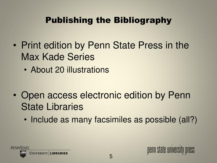 Publishing the Bibliography