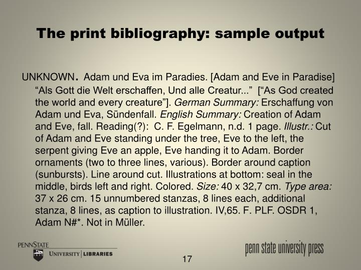 The print bibliography: sample output