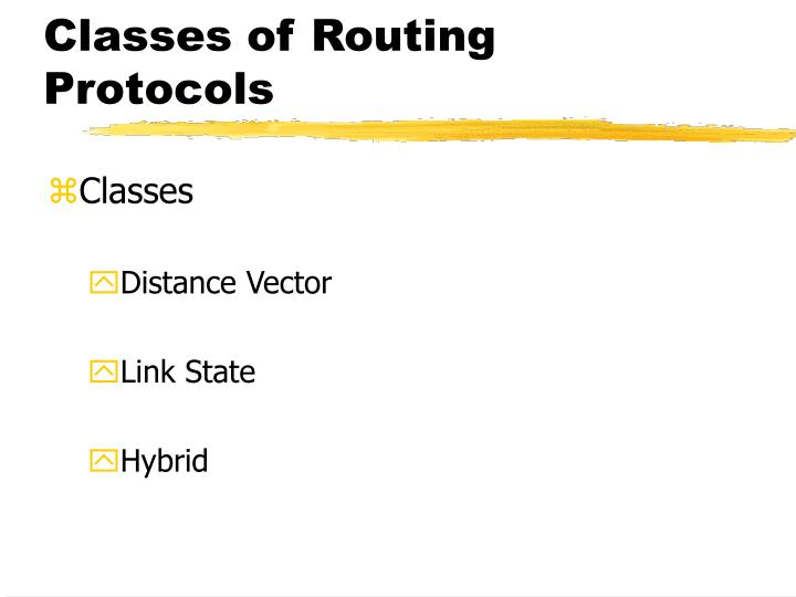 Classes of Routing Protocols