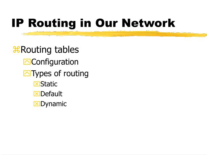 IP Routing in Our Network