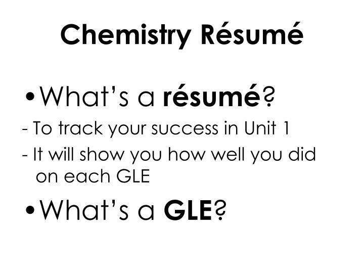 Chemistry Résumé