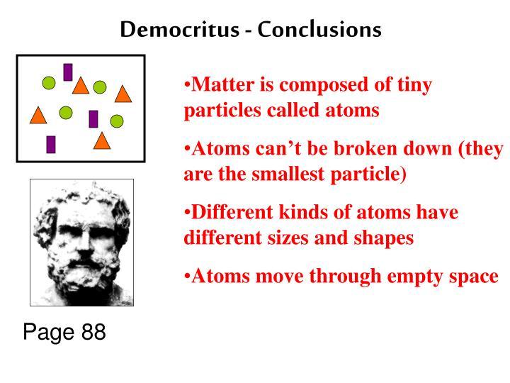 Democritus - Conclusions