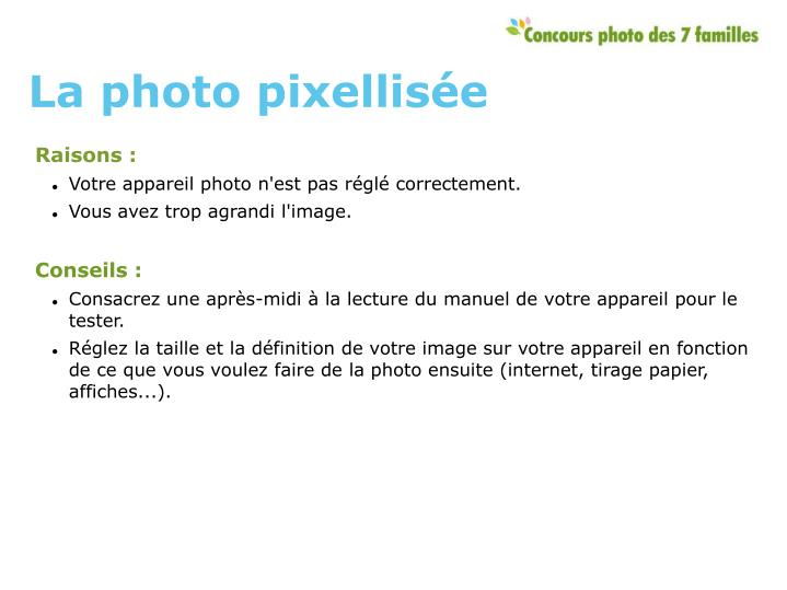La photo pixellisée