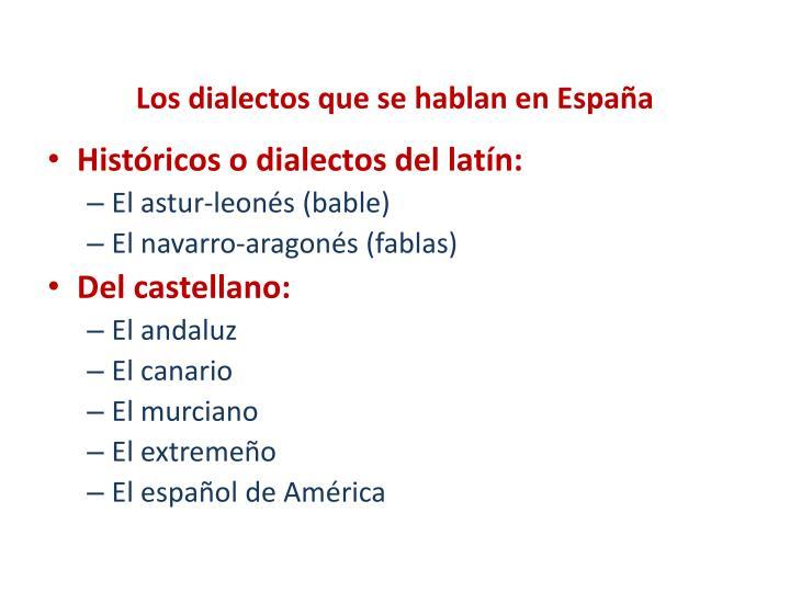 Los dialectos que se hablan en España