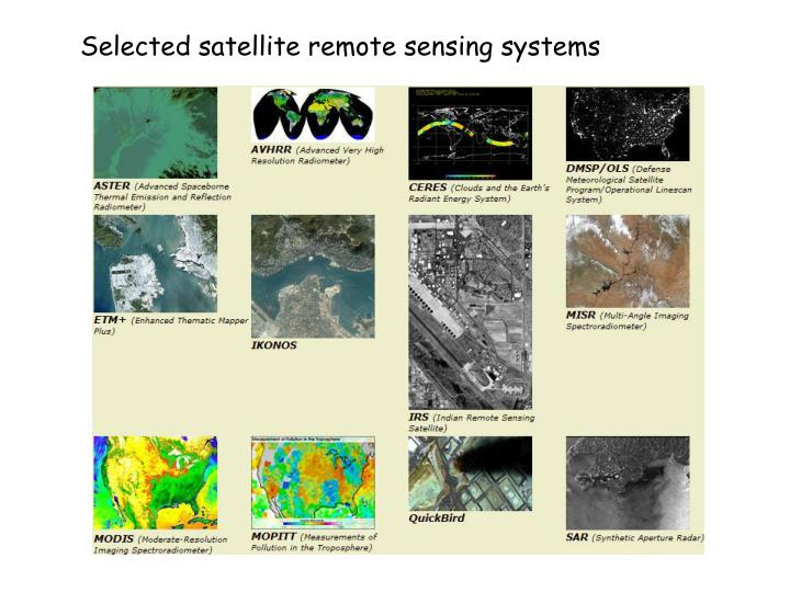 Selected satellite remote sensing systems