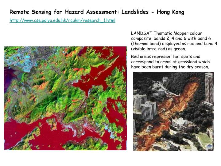Remote Sensing for Hazard Assessment: Landslides - Hong Kong