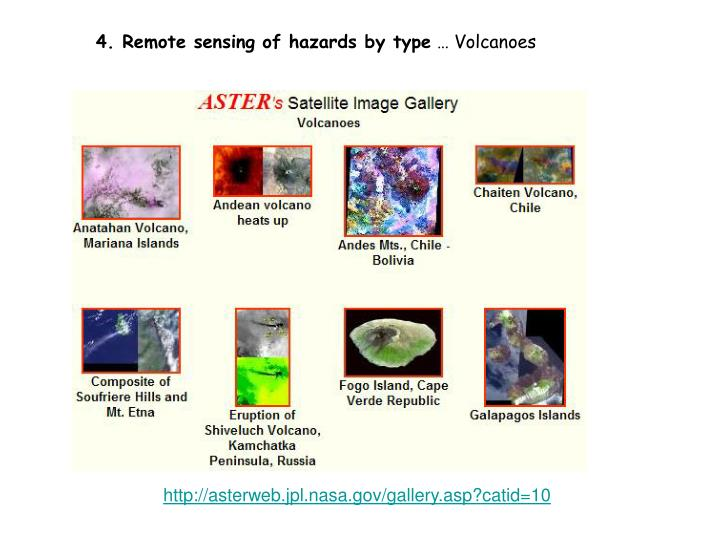 4. Remote sensing of hazards by type