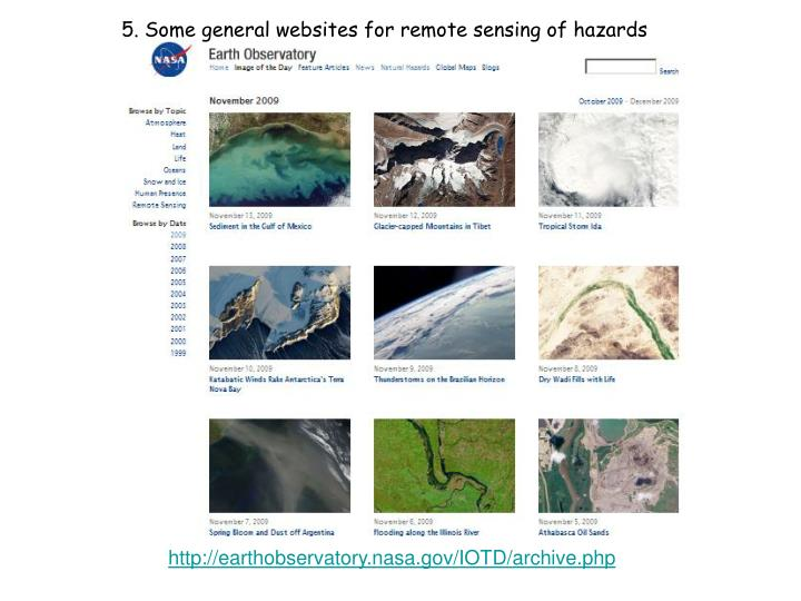 5. Some general websites for remote sensing of hazards