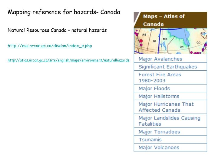 Mapping reference for hazards- Canada