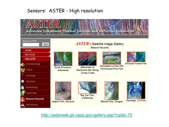 Sensors:  ASTER - High resolution